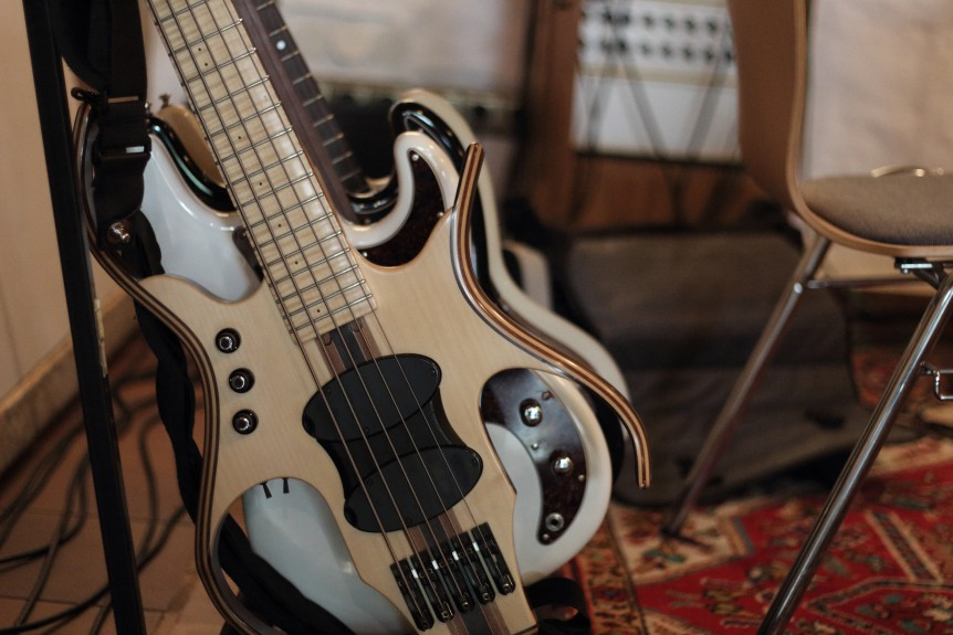 """My Basses at the Fattoria Music during the recording of Natalia Mateo's """"Heart of Darkness"""""""